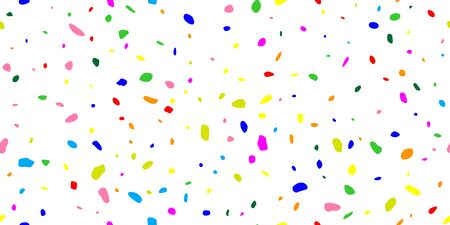 Rainbow party polka. Explosion seamless background of bright confetti. Geometric ink color dot. Abstract random art for celebratory design, wedding theme, banner, gift packaging, poster. Vector