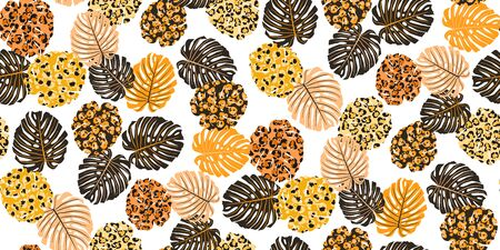 Tropical seamless pattern with colorful exotic leaves. Trendy flat jungle lush branches botanical plant. Perfect for textile, wallpapers, web page backgrounds. Leopard spot. Mud animal color. Vector Çizim