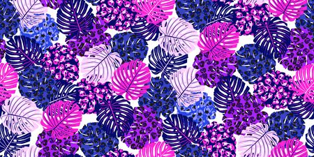Tropical seamless pattern with colorful neon exotic leaves gradient on white. Trendy flat jungle lush branches purple botanical plant. Perfect for textile, wallpapers, web page backgrounds. Vector