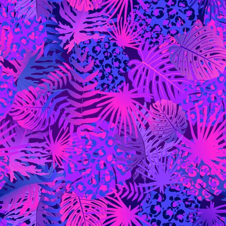 Tropical seamless pattern with colorful neon exotic leaves gradient. Trendy flat jungle lush branches purple botanical plant. Perfect for textile, wallpapers, web page backgrounds. Vector 일러스트