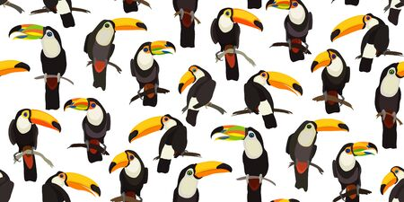 Tropical seamless pattern with bright Toucan parrot bird. Bright illustration cartoon style for summer design tropical paradise, advertising vacation, fabrics. Vector