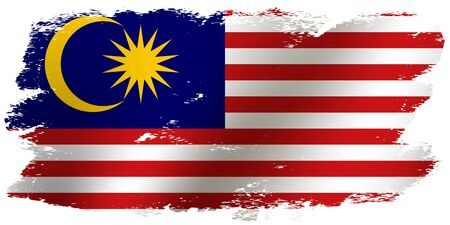 Grunge brush stroke with Malaysia national flag. Waving flag of Malaysia for celebration Hari Merdeka. Decorative design elements for Malaysian national holidays. Vector