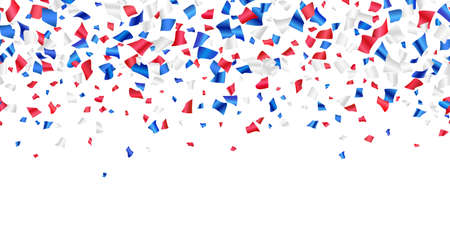 Red, white, blue glossy confetti flying on white. Flying tinsel sparkles, gradient foil confetti falling in colors of USA flag. American Independence Day or President Day backdrop. Vector seamless