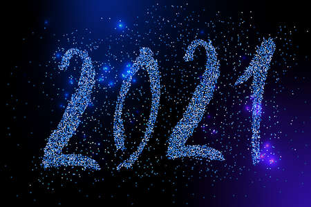 2021 Happy New Year card. Blue glitter confetti sparkles backdrop.  Shining 2021  hand written lettering. Great for design New year party posters, holiday card, banner, header for website. Vector
