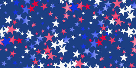 Red, white, blue glossy confetti stars flying. Flying stars sparkles, gradient foil confetti falling in colors of USA flag. American Independence Day or President Day backdrop. Vector seamless 일러스트