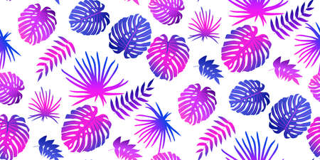 Exotic jungle botanical plant seamless pattern Çizim