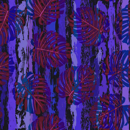 Stripes and monstera leaves seamless pattern 일러스트