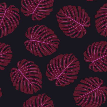 Exotic monstera leaves seamless pattern