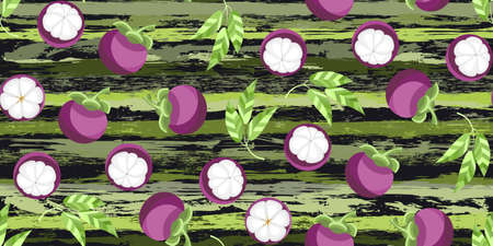 Exotic tropical fruit mangosteen seamless pattern Çizim