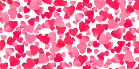 Red flying hearts seamless background
