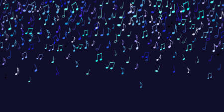 Seamless pattern colorful flying musical notes on black. Musical signs for banner of festival, print design, melody recording. Musical notation symphony signs, notes for sound tune music. Vector 일러스트