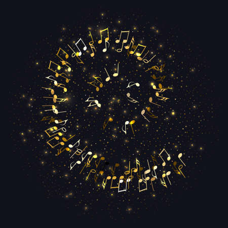 Golden flying musical notes and gold stars isolated on black. Musical signs for banner of festival, print design, melody recording. Musical notation symphony signs, notes for sound tune music. Vector Çizim