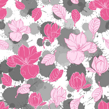 Seamless pattern with magnolia flowers. Paint splashes drops watercolor background. Floral vector pattern for invitations, cards, print, gift wrap, manufacturing, textile, fabric, wallpapers