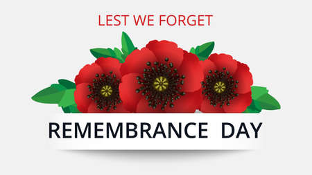Remembrance day lest we forget. Red poppy flower international symbol of peace on white background. Great for design posters, banner, header for website. Horizontal vector illustration