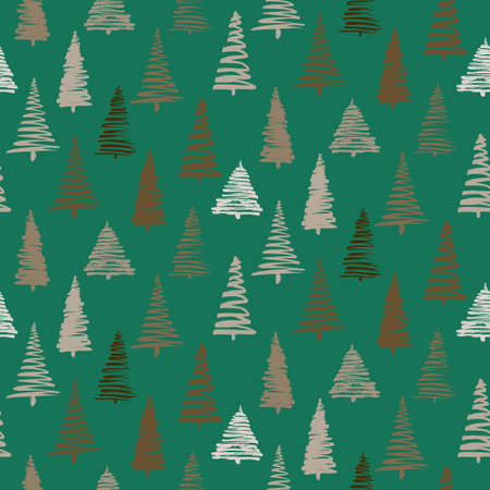 Seamless pattern with simple minimalist christmas trees decorated. Hand drawn doodle sketch drawing with ink. Doodle holiday fir for wrapping paper and backgrounds. Endless flat vector illustration
