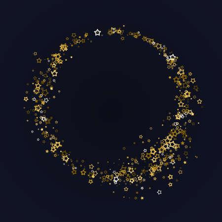 Golden realistic flying stars isolated on black. Luxury shiny little random stellar falling. Round frame of little shining stars. Decorative Golden christmas sparkles glitter star, star dust. Vector