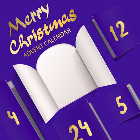 Christmas advent calendar door opening. Realistic an open wide doors with gold lettering on purple background. Template to reveal a message. Merry Christmas poster concept. Festive vector illustration