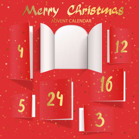 Christmas advent calendar door opening. Realistic an open wide doors with gold lettering on red background. Template to reveal a message. Merry Christmas poster concept. Festive vector illustration 矢量图像