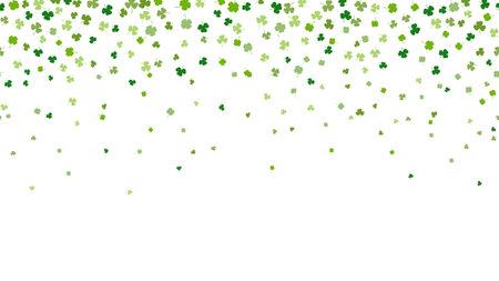 St. Patrick 's day horizontal seamless background. Green clover leaves random falling on white background. Ideal for greeting card, horizontal posters, header for website. Vector Illustration