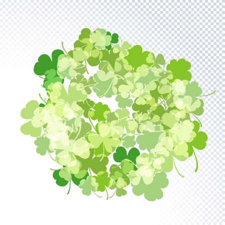 St. Patrick's Day holiday background. Green clover leaves round pattern on white. Ideal for greeting card, horizontal posters, header for website. Vector Illustration of a St. Patrick s day background Ilustracja