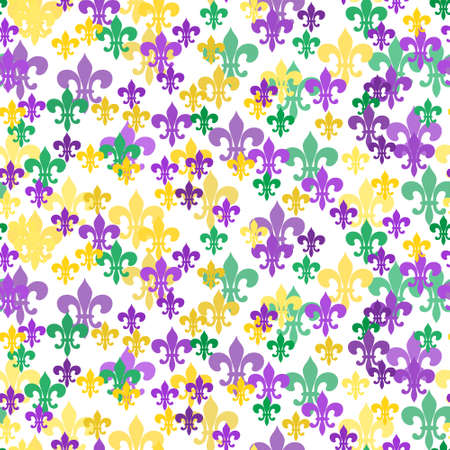 Seamless pattern of colorful Fleur-de-Lis lily symbol on white