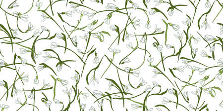 Seamless pattern of hand drawn white snowdrops flowers, green leaves on white. Spring flowers snowdrops perfect fit for design cover, textile, fabric, wallpaper, wrapping, card. Vector Illustration