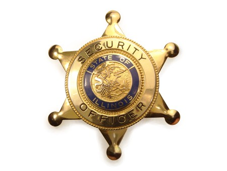 Sheriff`s badge on a white background photo