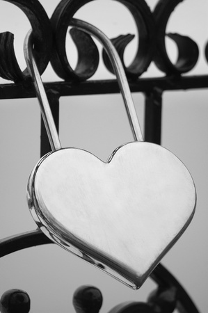 Black and White Heart Lock Stock Photo