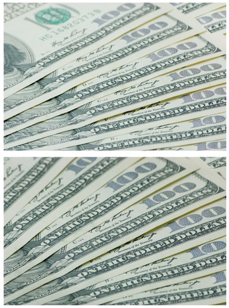 2 set 100 dollars banknotes background