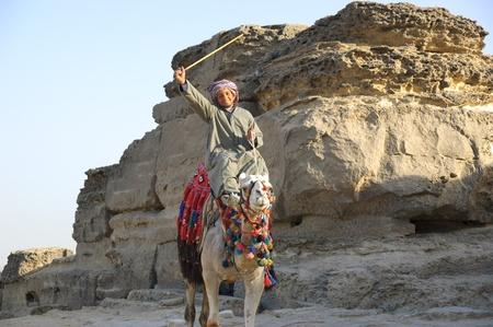 Egypte. 2010. Arabisch bedouin op kameel met stok