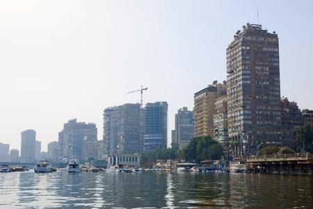 Uitzicht op Cairo Egypte van rivier de Nijl Stockfoto