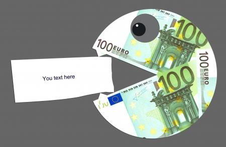Hongerig en boos euro wil alles eten Stockfoto