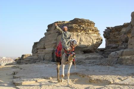 Arabisch bedouin op kameel met stok op januari 2010 in de woestijn van Egypte