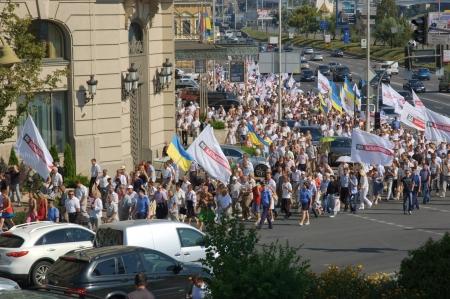 Massa Vergadering van de Oekraïense oppositie in de straten van Kiev op Juiy 30, 2012 Redactioneel