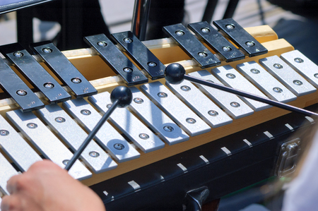 Musician play metallophone