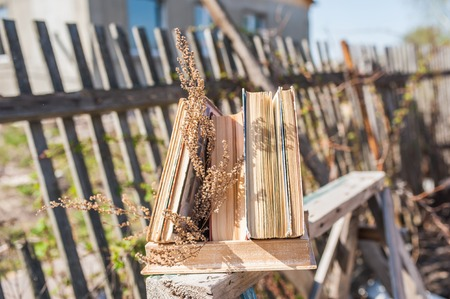 Stack of old books in front of a wooden fence in nature. The concept of science, school, study