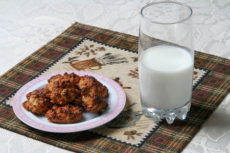 homemade cookies: homemade cookies with milk Stock Photo
