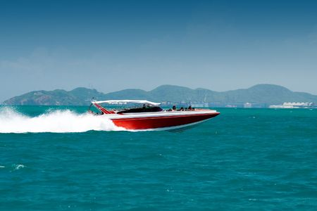 watersport: Motor boat in the bay Stock Photo