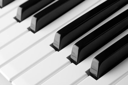 Macro of a piano keyboard