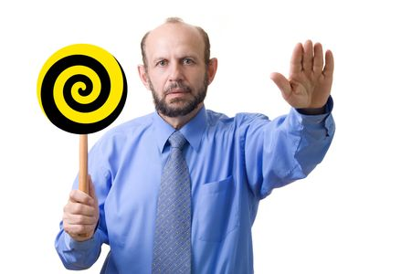 Hypnosis, focused on hand with spiral, but face is readable Stock Photo