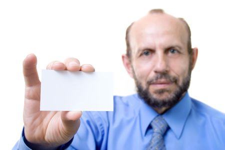 focused: Showing the empty card, focused on hand with card Stock Photo
