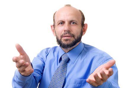 gesticulation: Senior man gesticulating, focused on the face