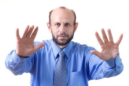 Gesture of a senior man(focused on face)
