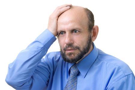 Senior man thinking about problems photo
