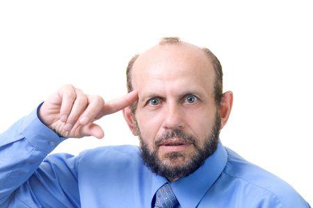 Senior man and his gesture photo