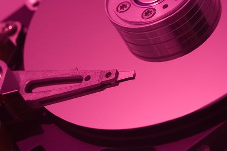 Macro of hard disc drive photo