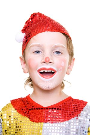 Boy, dressed as clown on Halloween, laughing photo