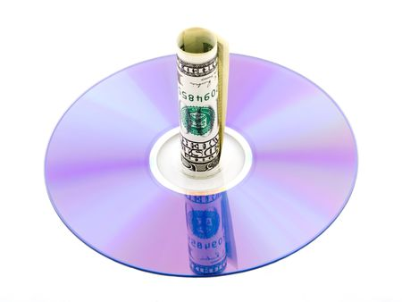 Cd, dvd with dollar bill on white