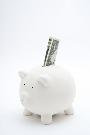 A piggy bank with 1 dollar, isolated
