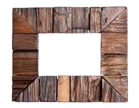Eine leere Holzrahmen, vereinzelt auf weiß
